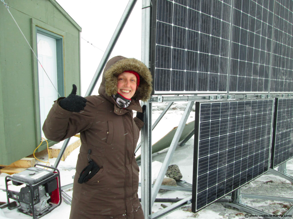 Solar panels and data collection shed part of the met tower set up in Rankin Inlet, where Martha is collecting baseline wind energy data for a proposed wind energy project.